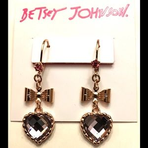 BETSEY JOHNSON ❤️Crystal Heart & Bow Drop Earrings